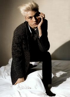 GQ Russia fashion editorial featuring international supermodel Lucky Blue Smith wearing Fay mélange coat from Fall - Winter 2015/16 collection.