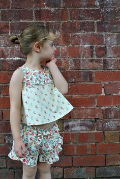 Sewing pattern for girls ruffled shorts childs by FelicityPatterns
