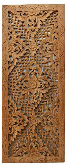 One Kings Lane - Asian Art Imports - Carved Teak Panel Modern Wooden Doors, Wooden Door Design, Wooden Art, Wood Design, Wood Sculpture, Sculptures, Wood Carving Designs, 3d Cnc, Islamic Art