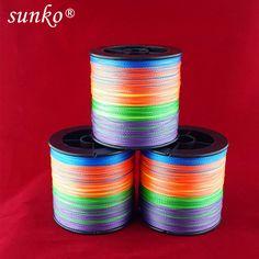 מספיק 300 m sunko מותג 8 10 20 30 40 50 60 70LB סופר חזק יפני צבעוני חומר PE קלוע חוט דיג Multifilament