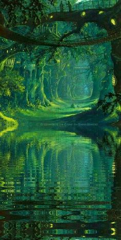 The Magic Faraway Tree, tree over the mysterious river, lake concept art landscape green nature world environment scene, speed painting Fantasy Places, Fantasy World, Fantasy Forest, Mystical Forest, Fantasy Town Names, Fantasy Village, Elves Fantasy, Dream Fantasy, High Fantasy