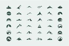 Pack of 12 mountains logo, 62 icons by AliceNoir on Creative Market - Logos Logo And Identity, Identity Design, Corporate Identity, Brochure Design, Visual Identity, Tattoo Templates, Logo Templates, Berg Logos, Minimal Logo Design