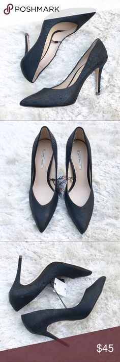 NWT    ZARA Black Textured Pumps Zara black textured heels. Some variation to color and texture. Any wear from store — never worn; new with tags. SIZING: Size 40 (a 9) and 39 (an 8) per Zara's size chart. Zara Shoes Heels