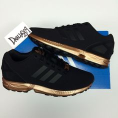 11f6558cc Womens adidas zx flux black copper s78977 torsion new limited rose gold 6  6.5 10
