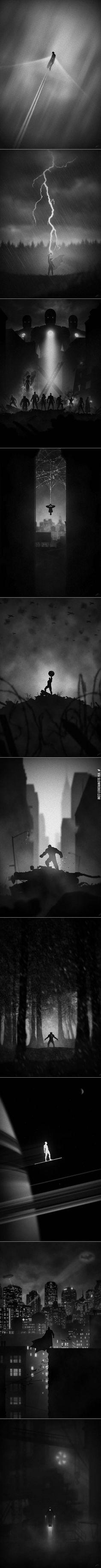 Eerie superhero posters
