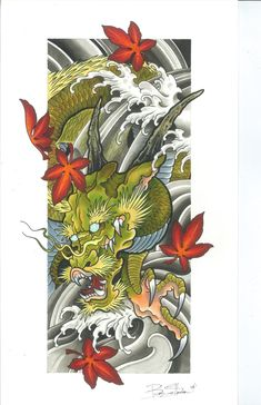 Japanese Embroidery Tiger Image of Dragon (Fall series) - This is a limited edition print of a asian style dragon tattoo design originally done with copic markers on watercolor. Japanese Dragon Tattoos, Japanese Tattoo Art, Japanese Sleeve Tattoos, Best Sleeve Tattoos, Japanese Art, Japanese Prints, Dragon Tattoo Sketch, Dragon Tattoo Designs, Cute Dragon Tattoo