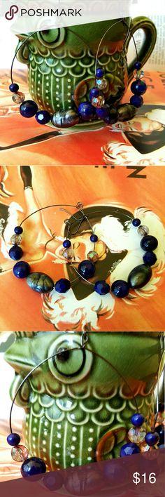 Big Blue Lapis Bead Hoop Earrings Big Blue Bead Hoop Earrings Lightweight design French hook -Gunmetal Hardware  Lucite Lapis beads  and silver marble beads boutique Jewelry Earrings