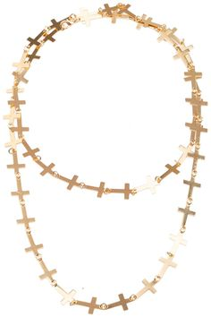 #Romwe Linked Crosses Golden Necklace