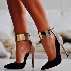 Leading lady Contrast Color Ankle Wrap Stiletto Heels http://imgzu.com/image/eauozn