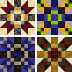 All 3 of these blocks come from the same pattern. Use of Color and Contrast Variations make it easy to Create Unique Quilts!
