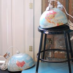 globe lamps: cool use for the (horribly outdated) globe that we inherited from my grandparents?  One in each boy's room, replacing awful fans ... perfect.