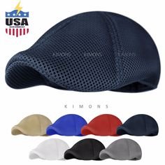 aee7356be1f Details about Soft Mesh Newsboy Gatsby Cap Mens Ivy Hat Golf Driving Summer  Sun Flat Cabbie