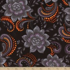 Black Magic Floral Cotton Fabric - Grey from Beverly's