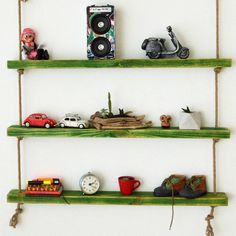 Massive Handmade Green Shelves with Rope Green Shelves, Wood Shelves, Floating Shelves, Custom Jewelry Design, Custom Design, How To Make Rope, All Wall, Free Gifts, Natural Wood