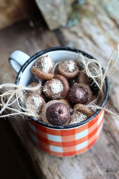 DIY Rustic Glittered acorns