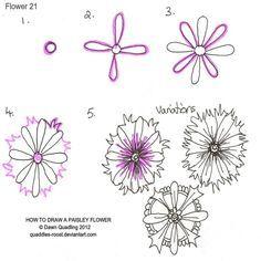 (2012-10) Paisley flower #21 - Zentangle like - zentangle inspired - zentangle patterns - #zentangle  - doodle art - #doodleart