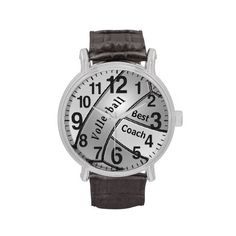 """Shop Customizable Volleyball Watch for """"Best Coach"""" created by LittleLindaPinda. Vintage Leather, Vintage Men, Vintage Black, Black Leather, Volleyball Gifts, Coaching Volleyball, Little Linda, Customizable Gifts, Coach Gifts"""