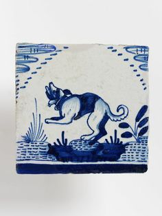 Tile I I Netherlands A dog in rocky landscape Antique Tiles, Vintage Tile, Vintage Ceramic, Ceramic Pottery, Ceramic Art, Delft Tiles, V & A Museum, Victoria And Albert Museum, Spirit Animal