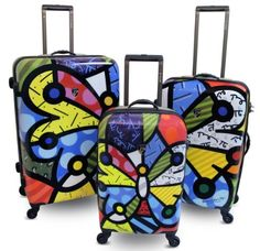 Luggage Sets Collections | Heys USA Britto Butterfly Hardside Luggage 3 pc Set * You can get additional details at the image link. Note:It is Affiliate Link to Amazon. #pleasecomment