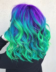 Likes, 22 Comments – Hair styles⚔Stylists✂️Color ( - Haarfarben Ideen Cute Hair Colors, Pretty Hair Color, Beautiful Hair Color, Hair Color Purple, Hair Dye Colors, Blue Hair, Purple And Green Hair, Neon Purple, Peacock Hair Color