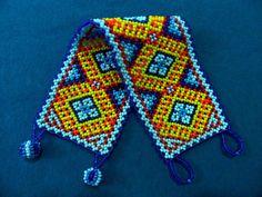Huichol Bracelet on Etsy Blue Red Yellow and Orange!