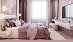 Soft, feminine and serene that's what these bedrooms are. Soft colors with pops of color in decor, add a blanket and a couple of pillows to make it all come together and you have your own feminine bedroom. Luxury Bedroom Design, Master Bedroom Design, Master Bedrooms, Bedroom Designs, Master Suite, Purple Master Bedroom, Mauve Bedroom, Bedroom Small, Feminine Bedroom