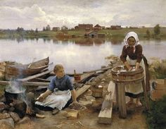 JaRNEFELT Eero Laundry at the river bank 1889 Eero Jarnefelt Malmo Sweden Oil Painting Reproductions 73850 Helene Schjerfbeck, River Bank, Chur, Scandinavian Art, Oil Painting Reproductions, Illustrations, Helsinki, Art Forms, Female Art