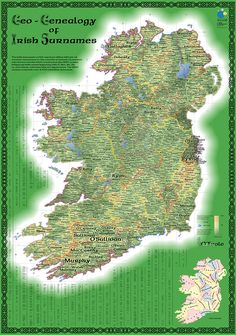 The original print version of the Geo-Genealogy of Irish Surnames map, created for the 2009 Esri User Conference.