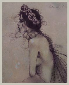 """""""Feral"""" Kristin Baugh Shiraef Drawing"""