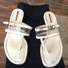 PRADA WHITE SANDALS PRADA SANDALS SIZE 8 MADE IN ITALY PRELOVED WITH VISIBLE WEAR Prada Shoes Sandals