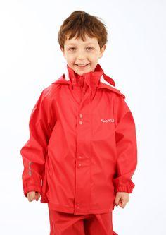 Rote Regenbekleidung aus PU. Kids Waterproof Jacket, Jung In, Rain Wear, Rain Jacket, Windbreaker, Coat, Red, How To Wear, Jackets