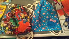 Drawstring bags with Mickey and Minnie head