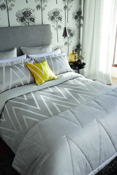 Bedlinen: Moriko Double Duvet Cover £120.00,Pillowcases: Moriko Square Pillowcase £30.00, Moriko Oxford Pillowcase £25.00,Cushion: £45.00,Throw: £175.00,Wallpaper: Katsura 110892 £59.00/rol