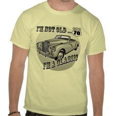 70th birthday styled tee, like the use of the classic car and the vintage font that has been used.
