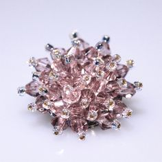 Beautiful Pale Pink Crystal Bead Brooch  £6.00 Crystal Beads, Crystals, Beaded Brooch, Organza Gift Bags, Pale Pink, Seed Beads, Bling, Glamour, Silver