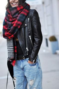 Fashion Landscape: Outfit | Plaid, Denim, and Leather