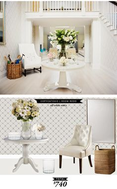 A stunning all white entryway featured in @lonnymag and recreated for $740 by @lindseyboyer for copy cat chic.