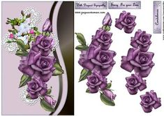 Sympathy Heritage purple roses and lace cross on Craftsuprint designed by Marijke Kok - Beautiful design with heritage purple roses on a lovely background and lace cross! - Now available for download!