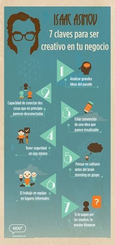 Hola: Una infografía con 7 claves para ser creativo en tu negocio (por Asimov). Vía Un saludo