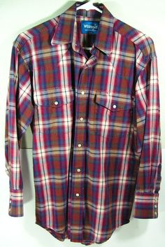 pearl snap western shirt plaid men's medium M by moivintage, $19.99