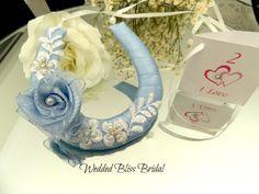 Wedding Horseshoe Bridal Charm - Something Blue Rose & Beaded Lace Motif