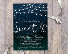 16th birthday party invitation printable watercolor invite boho sweet 16 birthday party digital invitation printable string stopboris Choice Image