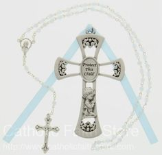 CFSRBS0005: Protect This Child Cross with Baby Rosary Set - Boy #catholicfaithstore