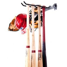 Small Baseball Rack  Price: 59.99    The Small Baseball Bat Rack by Monkey Bars is great for storing your baseball and softball gear in an orderly fashion. The Monkey Bar Baseball Rack can hold 5 bats, all kinds of gloves, helmets and catcher's gear.