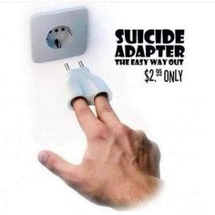 Suicide adapter is the easy way out - BreakBrunch Friday Humor, Daily Funny, Best Funny Pictures, Funny Pics, Funny Shit, Hilarious, Tgif Funny, Funny Farm, Funny Images