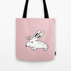 """Tote Bag """"Rabbit with Crown in Rose"""" by Elena Lourie. Worldwide shipping available at Society6.com.  #bag #tote #handbag #society6 #elenalourie  #textile #textiledesign  #surfacedesign #kids #girl #giftforgirl #characters #rose #rosequartz #pink #rabbit #prince #hare #fundesign #fun #cute  #gift #giftideas  #shop #sale # forsale #accessory"""