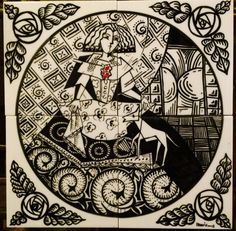 Velazquez's Menina style. Hand painted Ceramic Tiles.