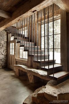 Hanging stairs with stone steps at the bottom; rustic decor ideas