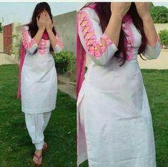 New Image : Salwar designs Kurti Sleeves Design, Sleeves Designs For Dresses, Kurta Neck Design, Neck Designs For Suits, Blouse Neck Designs, Sleeve Designs, Chudi Neck Designs, Hand Designs, Dress Designs