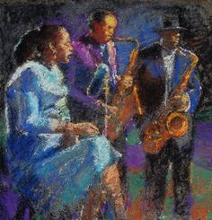 Billie Holiday Lester Young and Coleman Hawkins performing 'Fine and Mellow', pastel sketch on pavement in Arcata Plaza, CA.